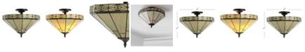 """JONATHAN Y Jasmine 16"""" Tiffany-Style LED Semi-Flush Mount"""
