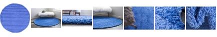 Bridgeport Home Exact Shag Exs1 Periwinkle Blue 6' x 6' Round Area Rug