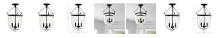 "JONATHAN Y Charlotte 14.5"" Metal/Glass LED Semi-Flush Mount"
