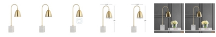 """JONATHAN Y Ana 26"""" Gold Arched Metal with Marble Base LED Table Lamp"""
