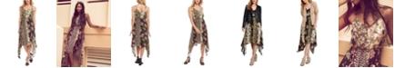 Karen Kane Mixed-Print Handkerchief-Hem Slip Dress