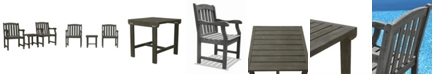 VIFAH Renaissance Outdoor Patio Wood 3-Piece Conversation Set