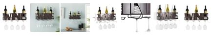 Danya B Decorative Wall Mount Wine Bottle and Long Stem Rack