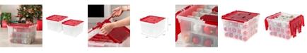 IRIS USA Ornament Storage Bin, 2 Pack, Red