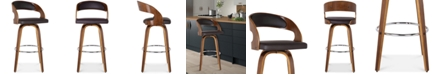 """Armen Living Shelly 26"""" Counter Height Barstool in Walnut Wood Finish with Brown PU"""