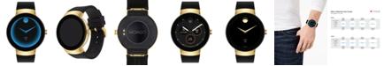 Movado Men's  Connect Black Silicone Strap Smart Watch 46.5mm