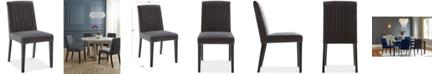Furniture CLOSEOUT! Elinor Velvet Dark Gray Channel Back Chair