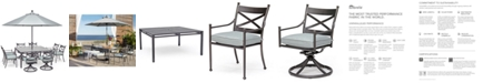 """Furniture Montclaire Outdoor 9-Pc. Dining Set (62"""" X 62"""" Table, 4 Dining Chairs & 4 Swivel Chairs) With Sunbrella® Cushions, Created For Macy's"""