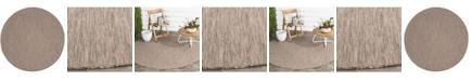 "Safavieh Courtyard Brown and Beige 6'7"" x 6'7"" Sisal Weave Round Area Rug"
