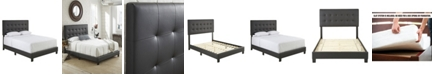 Ultima Hudson Queen Faux Leather Upholstered Platform Bed Frame with Tufted Headboard