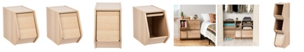 IRIS USA Modular Wood Stacking Storage Box With Door, Narrow