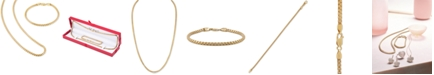 "Esquire Men's Jewelry 2-Pc. Set Box Link 22"" Chain Necklace and Bracelet in 14k Gold-Plated Sterling Silver, also available in Sterling Silver, Created for Macy's"