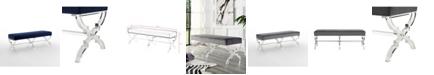 INSPIRED HOME Giselle Velvet Bench with Acrylic X-Leg Frame
