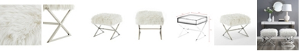 INSPIRED HOME Aurora Faux Fur Ottoman with Metal X-Leg Frame