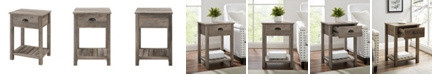 Walker Edison Country Single Drawer Side Table