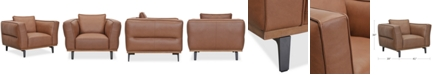 """Furniture Aubreeze 41"""" Leather Accent Chair, Created for Macy's"""