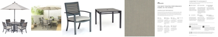 """Furniture Marlough II Outdoor Aluminum 5-Pc. Dining Set (36"""" Square Dining Table and 4 Dining Chairs) Sunbrella® Cushions, Created for Macy's"""