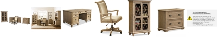 Furniture Brompton Home Office, 4-Pc. Furniture Set (Executive Desk, Upholstered Desk Chair, File Cabinet, & Bookcase)