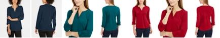 Charter Club Petite Supima® Cotton Split-Neck Top, Created for Macy's