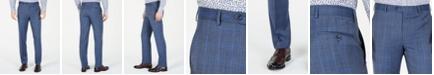Michael Kors Men's Classic-Fit Airsoft Stretch Light Blue Plaid/Windowpane Suit Pants