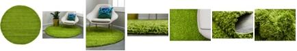 Bridgeport Home Exact Shag Exs1 Grass Green 6' x 6' Round Area Rug