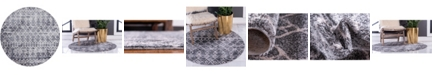 "Bridgeport Home Levia Lev1 Dark Gray 8' 4"" x 8' 4"" Round Area Rug"