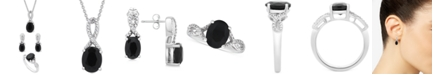 Macy's 3-Pc. Set Onyx & Diamond Accent Pendant Necklace, Drop Earrings & Ring in Sterling Silver