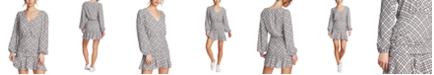 1.STATE Plaid Ruched Ruffle Dress