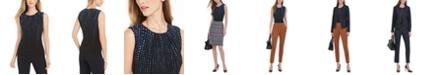 Calvin Klein Pleated-Neck Dot-Print Blouse