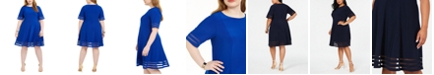 Jessica Howard Plus Size Illusion-Detail Fit & Flare Dress