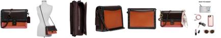 COACH Colorblock Leather with Snake Trim Hutton Shoulder Bag