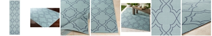 "Surya Alfresco ALF-9652 Aqua 2'3"" x 7'9"" Runner Area Rug, Indoor/Outdoor"