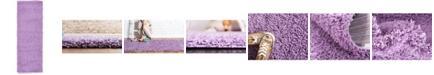 "Bridgeport Home Exact Shag Exs1 Lilac 2' 2"" x 6' 5"" Runner Area Rug"