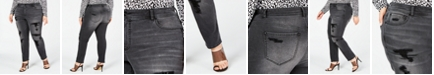 INC International Concepts INC Plus Size Distressed Embellished Skinny Jeans, Created for Macy's