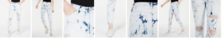 YNQ Denim Juniors' Tie-Dye Skinny Jeans