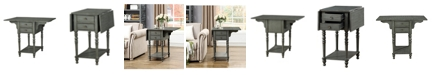 Coast to Coast Drop Leaf 2 Drawer Side Table, Quick Ship