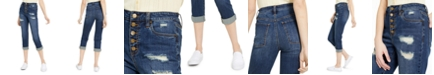 Dollhouse Juniors' Roll-Cuff Button-Fly Jeans