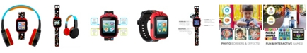 iTouch Kid's Playzoom Black Sports Print Tpu Strap Smart Watch with Headphones Set 41mm