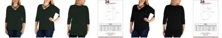 24seven Comfort Apparel Women's Plus Size Criss Cross Detail Tunic Top