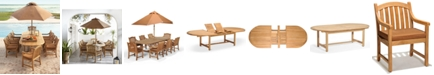 """Furniture Bristol Outdoor Teak 9-Pc. Dining Set (118"""" x 47"""" Dining Table and 8 Dining Chairs),  Created for Macy's"""