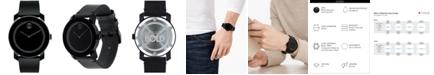 Movado Men's Swiss Bold Black Leather Strap Watch 42mm 3600306