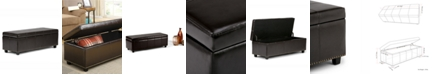 Simpli Home Rhodes Faux Leather Rectangular Storage Ottoman