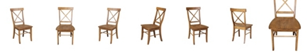International Concepts X-Back Chair - With Solid Wood Seat , Set of 2