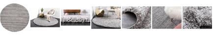 Bridgeport Home Exact Shag Exs1 Cloud Gray 6' x 6' Round Area Rug