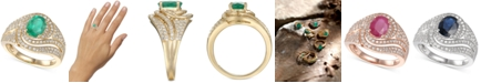 Macy's Emerald (1-1/4 ct. t.w.) & Diamond (3/4 ct. t.w.) Statement Ring in 14k Gold(Also Available In Certified Ruby & Sapphire)