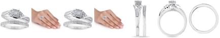 Macy's Certified Diamond 3/8 ct. t.w. Halo Bridal Set in 14k White Gold