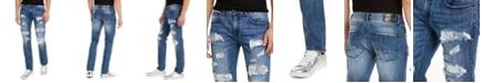 INC International Concepts INC Men's Slim-Straight Sequin Rip-Repair Jeans