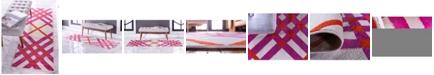 Jane Seymour Plaid Jso006 White 2' x 6' Runner Rug