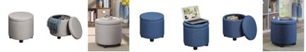 Convenience Concepts Designs4Comfort Round Accent Storage Ottoman