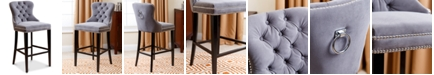 Furniture Harri Tufted Bar Stool, Quick Ship